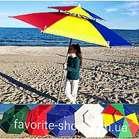 Пляжный Зонт 2.3м -РАЗНЫЕ ЦВЕТА- (брезент, трубка 32мм, 8 спиц ,8 мм) Реально клапан Чехол