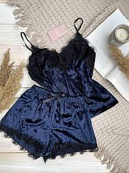 Пижама майка + шорты из велюра с французским кружевом