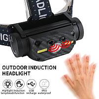 Потужний Налобний ліхтар Boruit B34 21700/18650 USB XM-L2 Датчик Руху АКУМУЛЯТОР В КОМПЛЕКТІ, фото 3