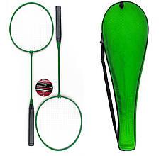 Набор для бадминтона 2 ракетки для бадминтона в чехле Зеленый