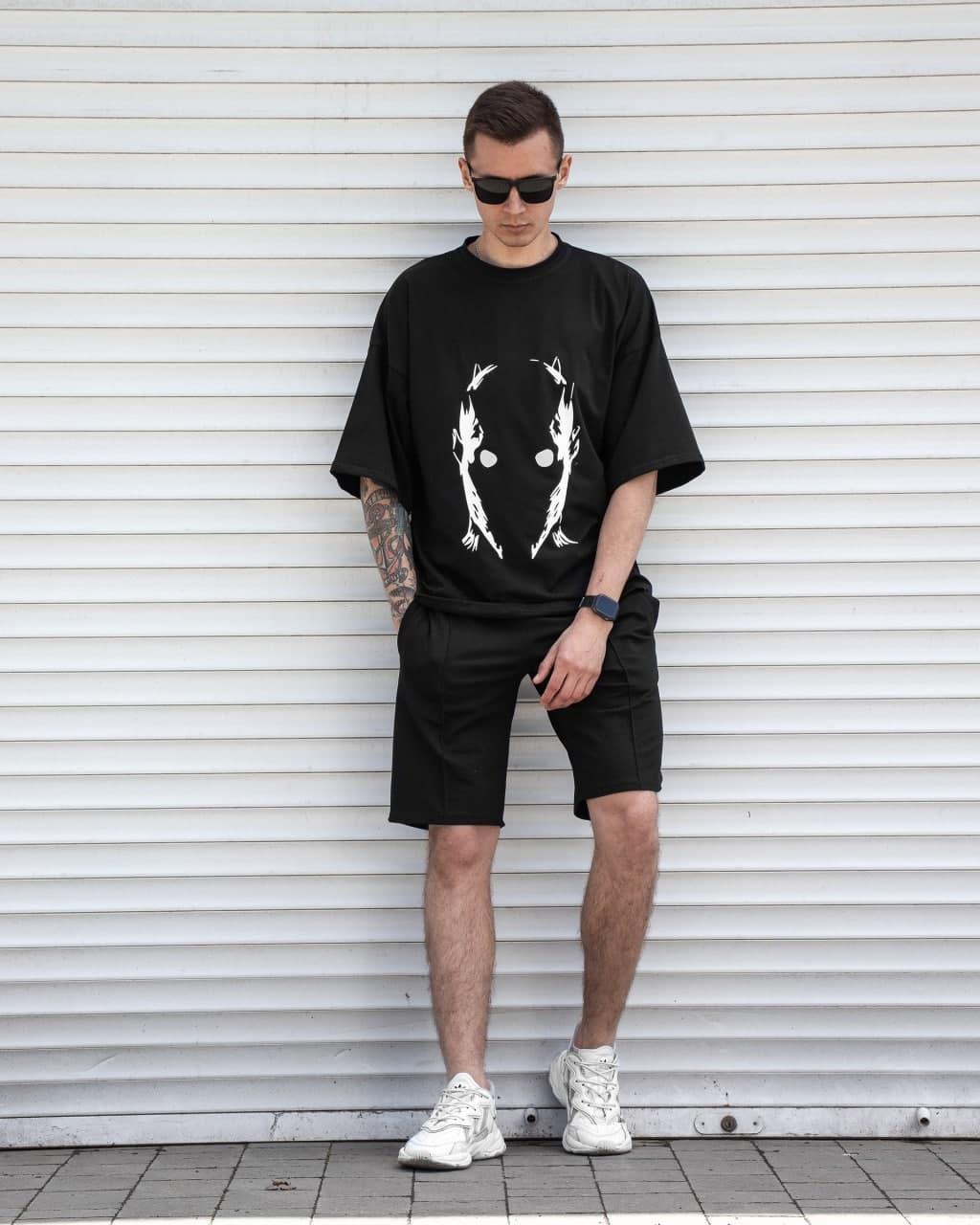 Daredevil+Delta Мужской спортивный костюм черный спринтом лето. Футболка + шорты свободного кроя