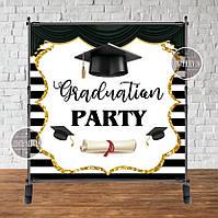 """Банер 2х2м """"Випуск. Graduation party"""" - Фотозона (вініловий) на випускний (каркас окремо) -"""