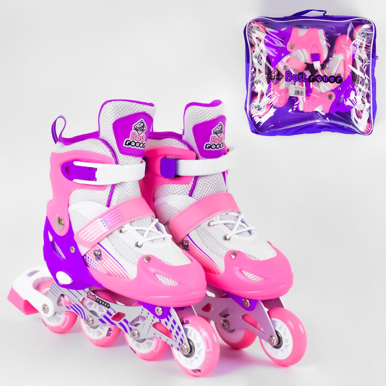 Best Roller Ролики детские раздвижные, размер 34 35 36 37 размера переднее колесо Светится, роликовые коньки