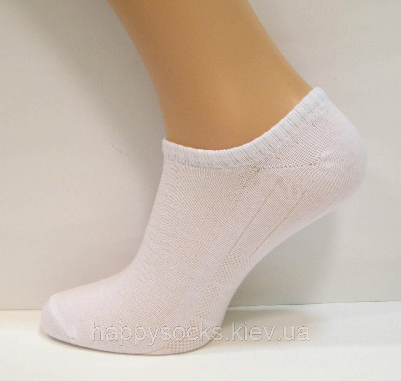 Короткі бавовняні шкарпетки в сітку чоловічі білого кольору