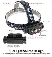 Потужний Налобний ліхтар Boruit B34 21700/18650 USB XM-L2 Датчик Руху АКУМУЛЯТОР В КОМПЛЕКТІ, фото 4