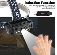 Мощный Налобный фонарь Boruit B34 21700/18650 USB XM-L2 Датчик Движения АККУМУЛЯТОР В КОМПЛЕКТЕ, фото 5