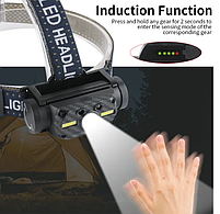 Потужний Налобний ліхтар Boruit B34 21700/18650 USB XM-L2 Датчик Руху АКУМУЛЯТОР В КОМПЛЕКТІ, фото 5