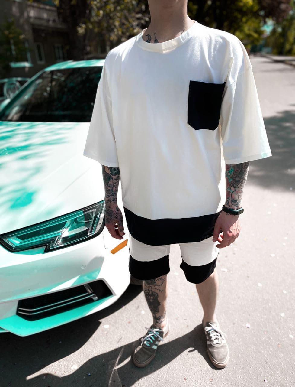 Чоловічий спортивний костюм/комплект білий з кишенею літо. Футболка + шорти Туреччина