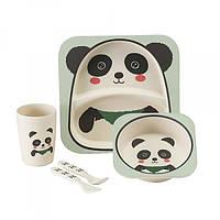 Набор детской посуды из 5 предметов бамбук Bamboo Fibre kids Set Панда 153980
