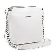 Жіноча сумка через плече крос-боді шкіра А. Rai класична сумочка з натуральної шкіри білого кольору, фото 1