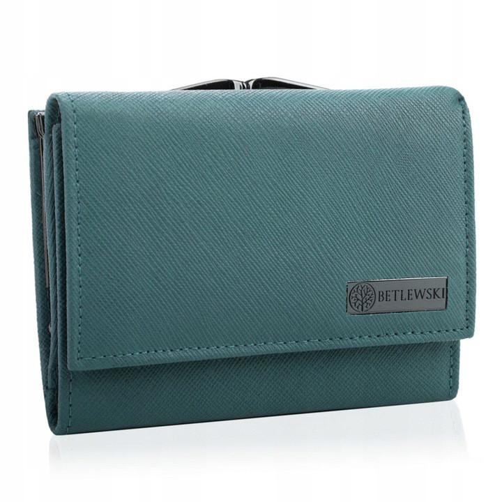 Жіночий шкіряний гаманець Betlewski з RFID 12,5 х 9,5 х 2,5 (BPD-SA-14) - блакитний