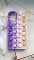 Силиконовый чехол Антистресс Поп-Ит Pop It для iPhone 11 (6,1) Фиолетовый