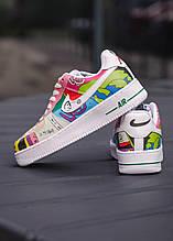 💕 Кроссовки женские Nike Air Force 1 Flyleather Ruohan W разноцветные раскрашенные кожаные найк эир форс разу