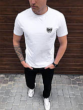 """🔥  Мужская футболка Pobedov """"Peremoga - Mishka черный"""" белая с мишкой летняя на каждый день"""