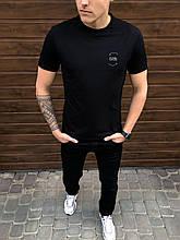 """🔥  Мужская футболка Pobedov """"Peremoga - Karma belyy"""" черная с принтом на каждый день"""