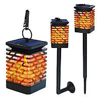 Садовий підвісний світильник з ефектом вогню на сонячній батареї, світло полум'я ( факел) 12 світлодіодів