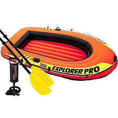 Двухместная надувная лодка Intex 58358 Explorer PRO 300 Set, 244 х 117 см, (весла, ручной насос). 3-х