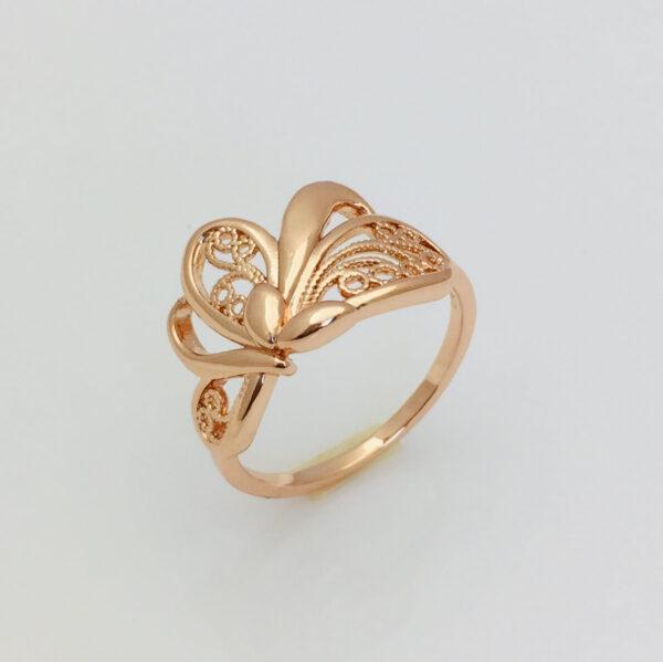 Перстень Марсель, позолота 18К, розмір 17, 18, 19. 20, 21, 22 мед золото Fallon Jewelry