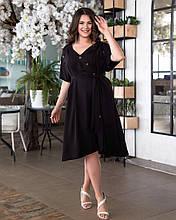 Женское платье батал, жатый лен, р-р 50; 52; 54; 56 (чёрный)