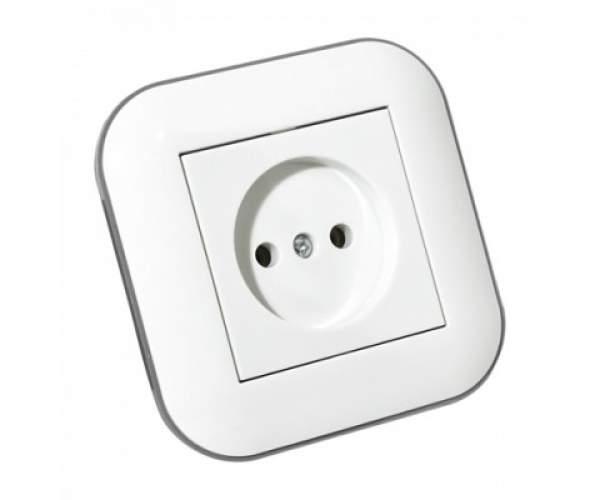 Розетка LOFT білий+сірий (Horoz Electric)