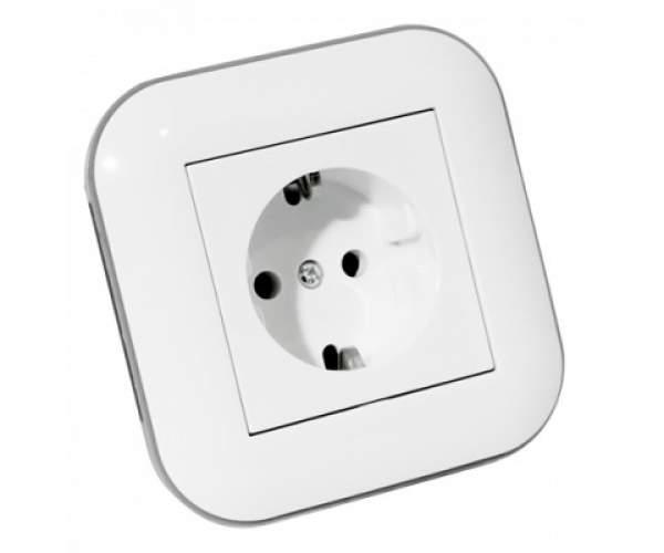 Розетка з заземленням LOFT білий+сірий (Horoz Electric)