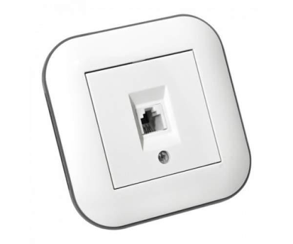 Розетка телефонная LOFT белый+серый (Horoz Electric)