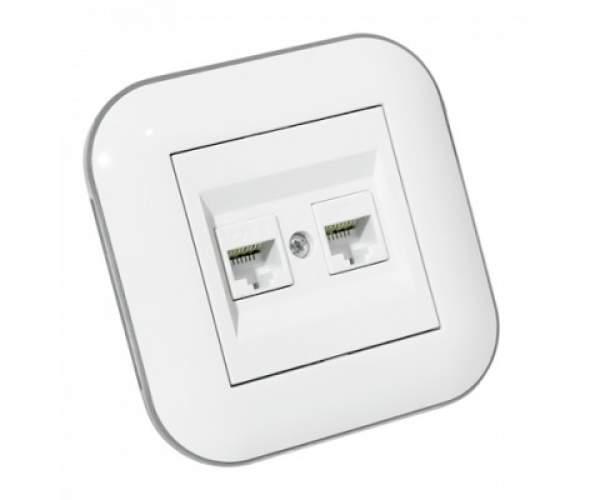 Розетка компьютерная двойная (CAT6) LOFT белый+серый (Horoz Electric)