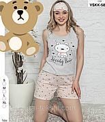 Пижама женская комплект майка и шорты хлопок 100% Турция № 49922
