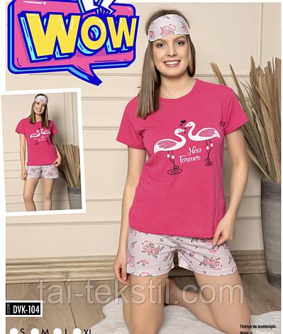 Пижама женская футболка и шорты + маска для сна хлопок 100% Турция № 104, фото 2