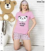 Пижама женская комплект футболка и шорты хлопок 100% Турция № 102