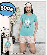 Пижама женская футболка и шорты + маска для сна хлопок Турция № 2234