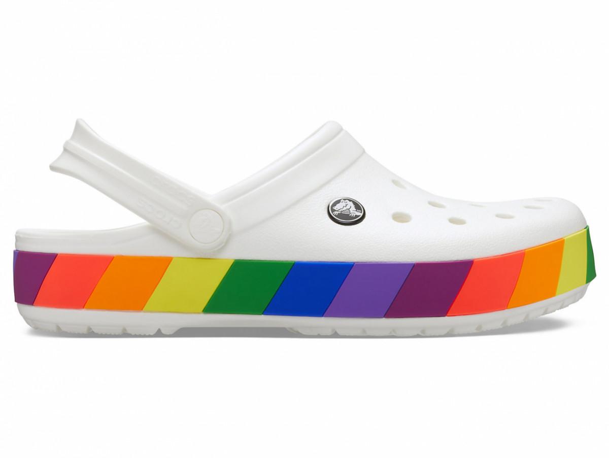 Кроксы сабо Женские Crocband Rainbow Block Clog White M7-W9 39-40 24,6 см Белый