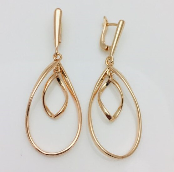Сережки женские Fallon Jewelry, мед золото, 82100834 высота 53 мм ширина 19 мм , позолота