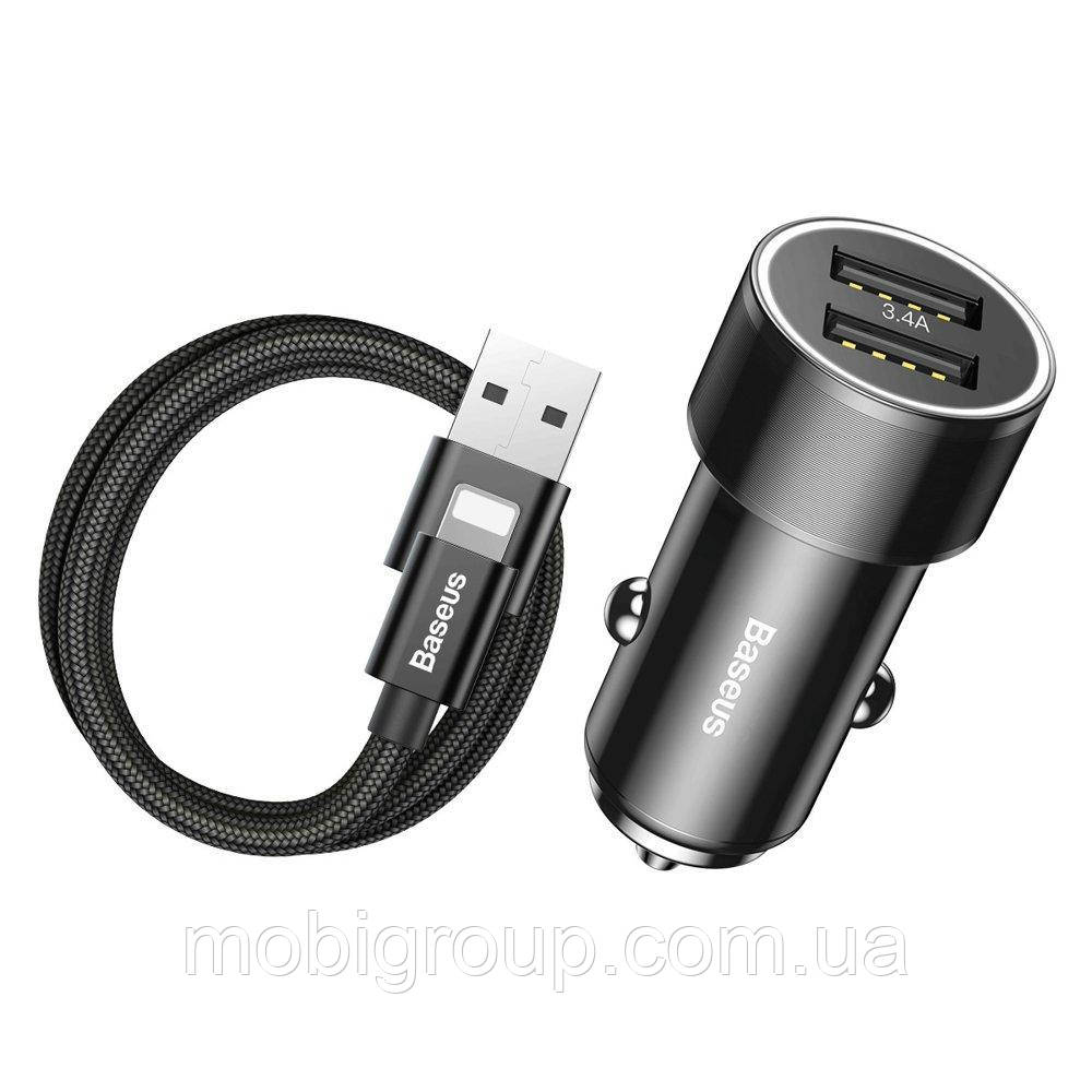 АЗУ Baseus Car Charger Small Screw Series 2xUSB 3.4 A + Lightning Cable, Black (TZXLD-A01)