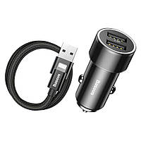 АЗУ Baseus Car Charger Small Screw Series 2xUSB 3.4 A + Lightning Cable, Black (TZXLD-A01), фото 1