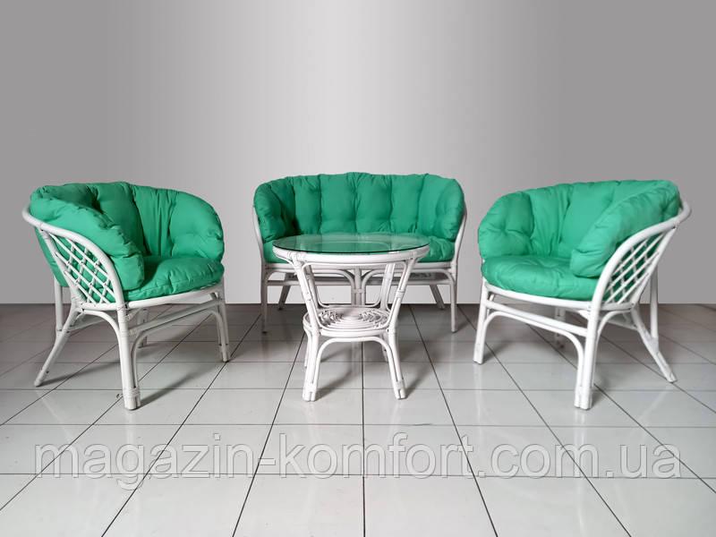 Комплект мебли Таврия Фуларм Грин из натурального ротанга софа, 2 кресла и кофейный столик белый