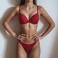 Женский купальник открытый Красного цвета. Женский купальник раздельный, молодёжный
