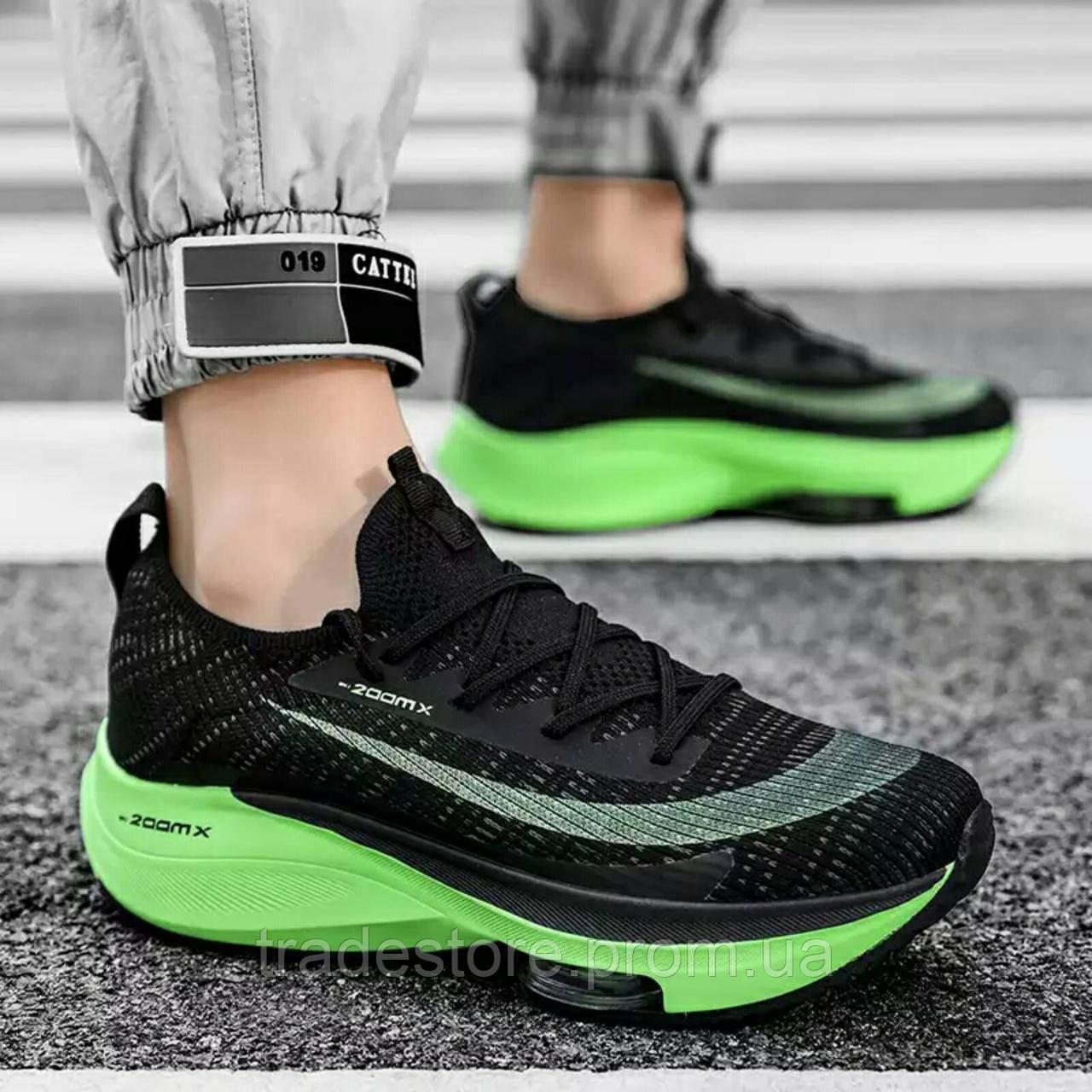 Чорно зелені кросівки в стилі Nike Air Zoom Alphafly Next
