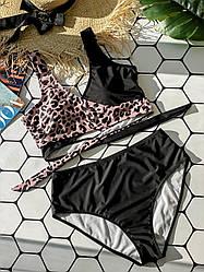 Раздельный черный купальник с леопардовой вставкой Black