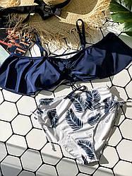Раздельный синий купальник с цветочным принтом Blue