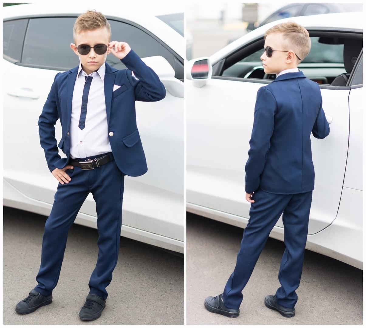 Стильный классический детский костюм для мальчика: пиджак и штаны из структурной брючной ткани