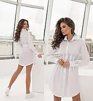 Женское коттоновое платье-рубашка.Размеры:42/48+Цвета, фото 1