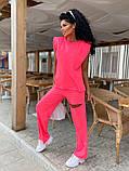 Женский спортивный повседневный костюм свободного кроя с разрезом черный оранжевый малиновый лимонный, фото 3