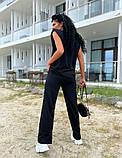 Женский спортивный повседневный костюм свободного кроя с разрезом черный оранжевый малиновый лимонный, фото 6
