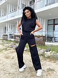Женский спортивный повседневный костюм свободного кроя с разрезом черный оранжевый малиновый лимонный, фото 7