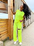 Женский спортивный повседневный костюм свободного кроя с разрезом черный оранжевый малиновый лимонный, фото 9