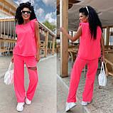 Женский спортивный повседневный костюм свободного кроя с разрезом черный оранжевый малиновый лимонный, фото 5