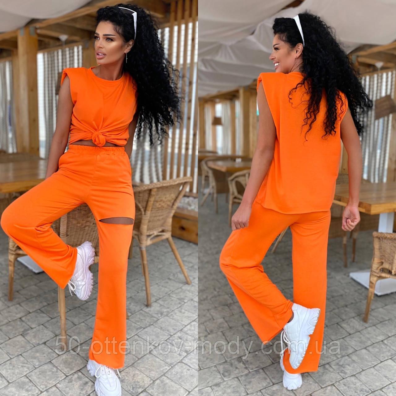 Женский спортивный повседневный костюм свободного кроя с разрезом черный оранжевый малиновый лимонный