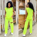 Женский спортивный повседневный костюм свободного кроя с разрезом черный оранжевый малиновый лимонный, фото 10