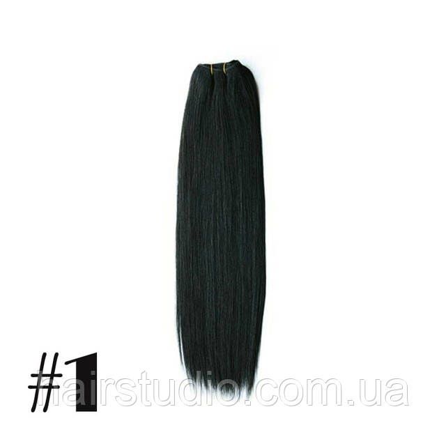 Натуральные волосы Remy на трессах длина 50 см оттенок №1